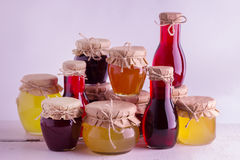 Preserved homemade fruits and berries jam in the jar. Rustic sty Stock Photo