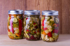 Preserved mixed vegetables in mason jar Stock Photos