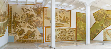 The preserved mosaics in museum Royalty Free Stock Photo