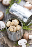 Preserved Mushrooms in a Tin. Some preserved Mushrooms in a Tin stock images