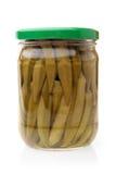 Preserved okra in glass jar Royalty Free Stock Image