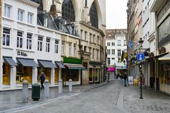 Preserved old European-style residential and commercial buildings on streets of Brussels City, Belgium. Brussels, Belgium - April 2015: Preserved old European Royalty Free Stock Image
