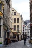 Preserved old European-style residential and commercial buildings on streets of Brussels City, Belgium. Brussels, Belgium - April 2015: Preserved old European Royalty Free Stock Photo