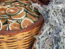 Preserved Orange and Herbal Tea. Preserved orange slices and herbal tea, Athens central market precinct Royalty Free Stock Photography