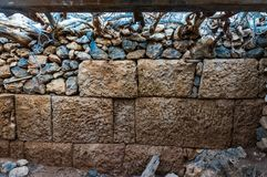 "Preserved part of the great wall of the pirate castle of Hellenistic period in Antikythera Greece. The castle was under the control of ""Falasarna"", a well Stock Photography"
