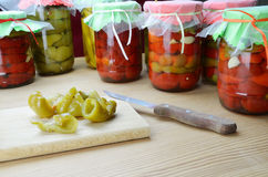 Preserved peppers Stock Images