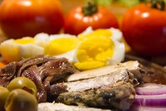Preserved sardines and anchovies with eggs and vegetables stock photo