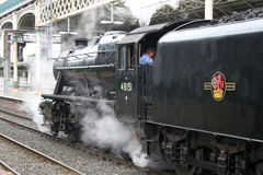 Preserved steam locomotive at Preston station Stock Images