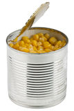 Preserved sweet corn. In tin Royalty Free Stock Photos