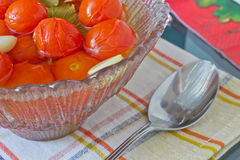 Preserved tomatoes. In a bowl on the table Royalty Free Stock Images