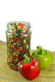 Preserved vegetables. In a jar royalty free stock photos