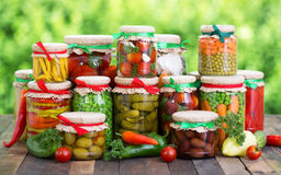 Preserved vegetables. In the jars Royalty Free Stock Images