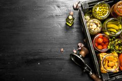 Preserved vegetables and mushrooms in a box with seamer. On the black chalkboard Royalty Free Stock Photos