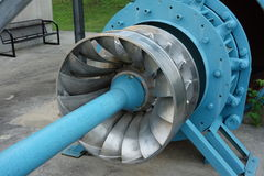 A preserved water turbine at the big chute in muskoka. Royalty Free Stock Images
