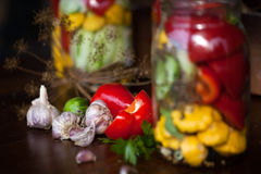 Preserved wegetables in jars. Preserved cucumbers, peppers and patisson in jars Stock Photos