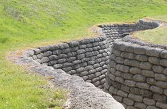 Preserved WW1 Allied Trench. Preserved World War 1 Allied Trench at Vimy, France Stock Image