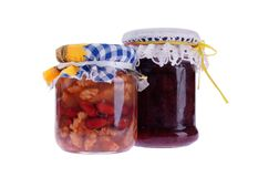 Preserves. Homemade preserves in a jar Royalty Free Stock Photo
