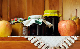 Preserves. Homemade preserves with fresh fruits Royalty Free Stock Images