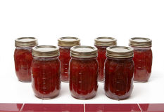 Preserves. Strawberry fig preserves on a counter top Stock Image