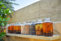 Preserves of fruits and vegetables in cupping-glasses composition Royalty Free Stock Photography