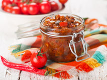 Preserves in glass jar Stock Photo