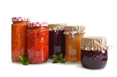Preserves in the jars isolated on white