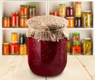 Preserves. Jar homemade raspberry food raspberry jam container Royalty Free Stock Images