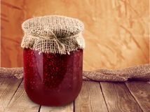 Preserves. Jar homemade raspberry food raspberry jam container Royalty Free Stock Photography