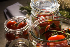 Preserving. Food series: preserving of tomato, marrow and pepper Royalty Free Stock Image