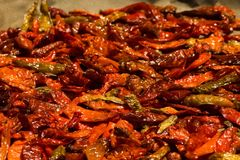 Preserving chillies. With drying methode from indonesia Stock Images