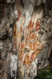 Preshistoric petroglyph rock paintings in Raja Ampat, West Papua, Indonesia. Stock Photo