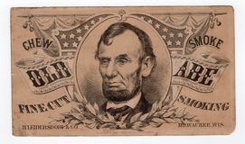 President Abraham Lincoln Vintage Old Advertisement. President Abraham Lincoln of the United States vintage collectible engraving Old Abe Fine Cut Smoking vector illustration