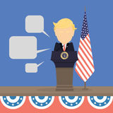 President with american flag. President with american flag and speech bubbles. New american president vector illustration