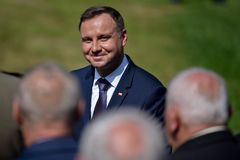 President Andrzej Duda. LUBIN, POLAND - AUGUST 31, 2017: Celebrations of the 35th anniversary of the Lubin Crime and the 37th anniversary of the founding of the royalty free stock photos