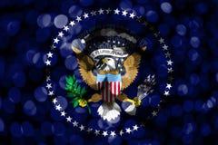 President av den abstrakta oskarpa bokehflaggan för Förenta staterna Jul, nytt år och begreppsflagga för nationell dag Förenta st stock illustrationer