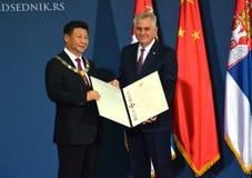 President av People'sen Republiken Kina XI Jinping på ett officiellt tre-dag besök till republiken av Serbien Royaltyfri Fotografi