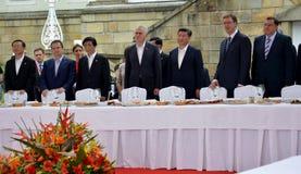 President av People'sen Republiken Kina XI Jinping på ett officiellt tre-dag besök till republiken av Serbien Arkivbild