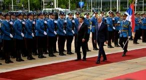 President av People'sen Republiken Kina XI Jinping på ett officiellt tre-dag besök till republiken av Serbien Arkivbilder