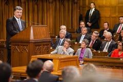 President av Ukraina Petro Poroshenko i Ottawa (Kanada) Arkivbild