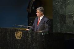 President av Ukraina Petro Poroshenko på FN-generalförsamling Royaltyfria Bilder