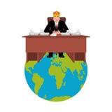 President av världen i krona Den moderna konungen är en affärsman bifokal royaltyfri illustrationer