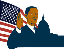 President Barack Obama. Vector art of American President Barack Obama's inauguration with the US Capitol building and presidential seal in the background royalty free illustration