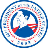 President Barack Obama. Illustration of a seal showing Barack Obama the 44th elected President of the United States of America who was sworn in to office on vector illustration