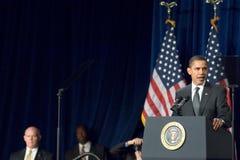 President Barack Obama in Arizona. MESA, AZ - FEBRUARY 18: President Barack Obama speaks about the home mortgage crisis at Dobson High School on  February 18 Royalty Free Stock Photography