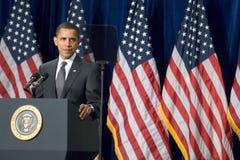 President Barack Obama in Arizona. MESA, AZ - FEBRUARY 18: President Barack Obama speaks about the home mortgage crisis at Dobson High School on  February 18 Stock Photography