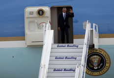 President Barack Obama arrives at the Athens Stock Photography