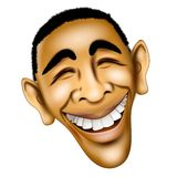 President Barack Obama Face. An illustration caricature of Barack Obama with his winning smile Stock Photos