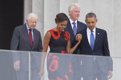 President Barack Obama, First Lady Michelle Obama. And former presidents Jimmy Carter and Bill Clinton arrive for the ceremony to commemorate the 50th Royalty Free Stock Photos