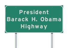 President Barack Obama Highway road sign. Vector illustration of the President Barack Obama Highway green road sign stock illustration