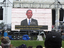President Barack Obama and His Message. Photo of 44th president barack obama speaking at the 50th anniversary on 8/28/2013 of martin luther kings march on Stock Image